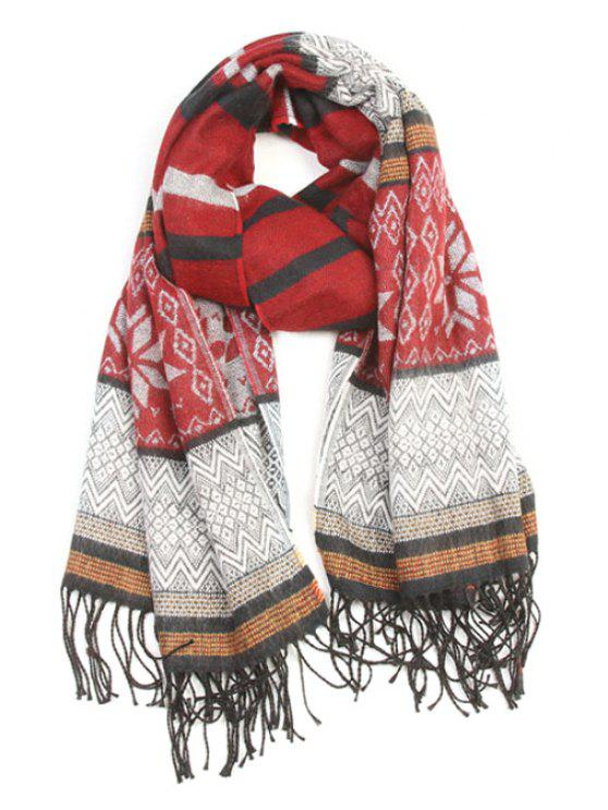 buy Christmas Snowflake Pattern Tassel Scarf - WINE RED