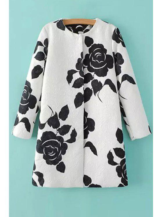 outfit Rose Print Round Neck Long Sleeve Coat - AS THE PICTURE S