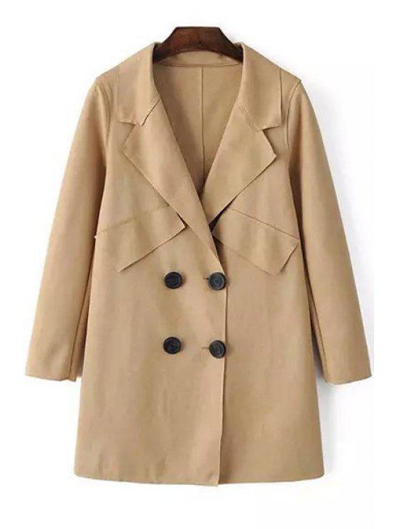 shops Pure Color Lapel Neck Long Sleeves Coat - LIGHT KHAKI S