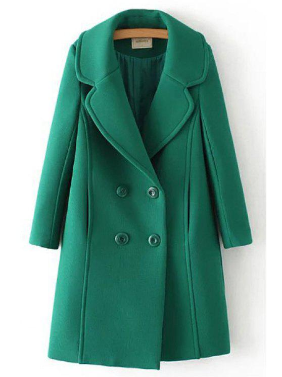 buy Green Lapel Neck Long Sleeve Coat - GREEN S