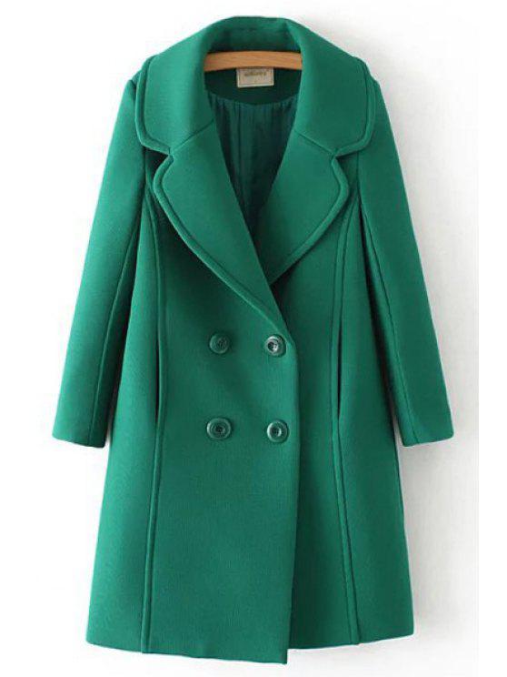 buy Green Lapel Neck Long Sleeve Coat - GREEN S