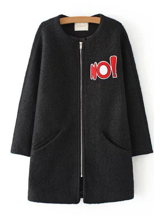 women's Letter Pattern Long Sleeve Worsted Coat - BLACK S