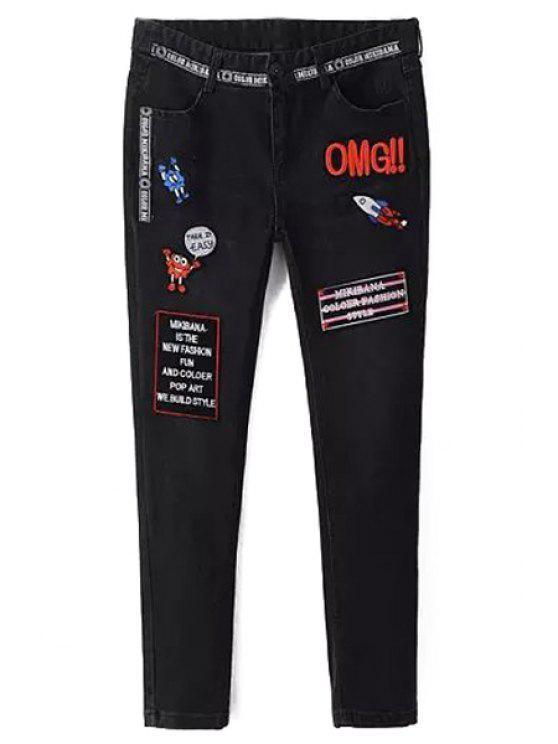 latest Appliqued Narrow Feet Pencil Jeans - BLACK L