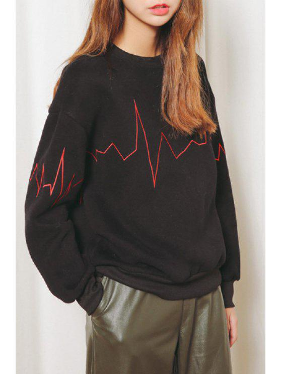 outfit Electrocardiogram Print Sweatshirt - BLACK ONE SIZE(FIT SIZE XS TO M)