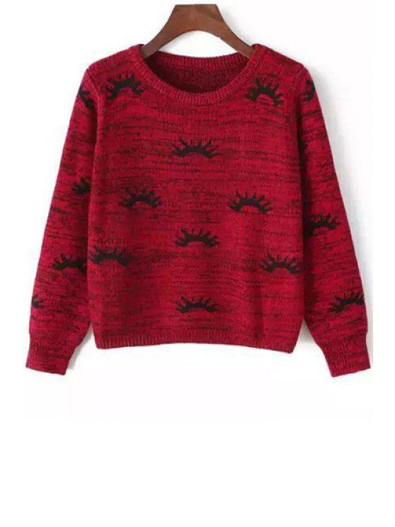 best Eyelash Pattern Long Sleeve Jumper - RED ONE SIZE(FIT SIZE XS TO M)
