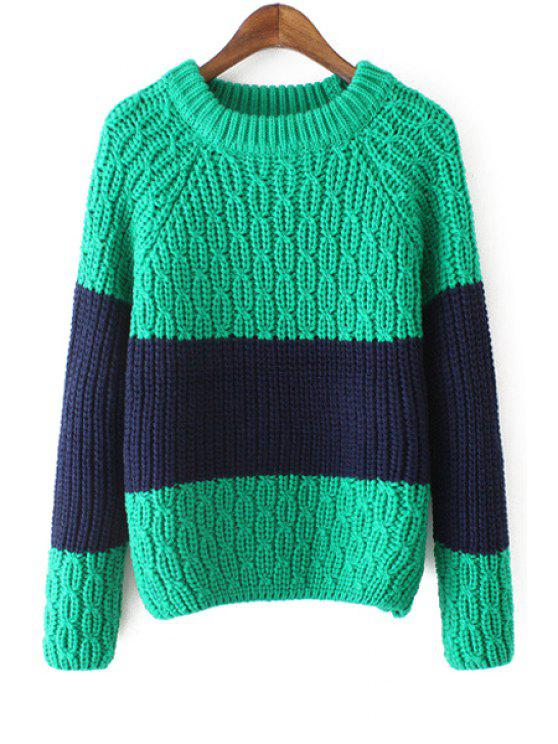 latest Round Neck Color Block Jumper - GREEN ONE SIZE(FIT SIZE XS TO M)