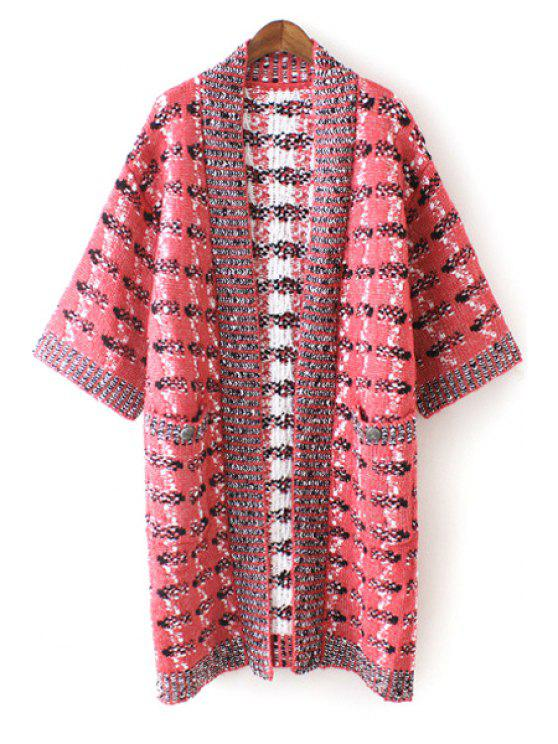 chic Half Sleeve Jacquard Long Cardigan - RED ONE SIZE(FIT SIZE XS TO M)