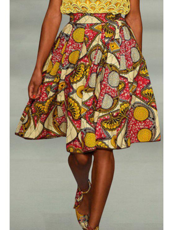 ladies Retro Geometric Print Pleated Skirt - COLORMIX S
