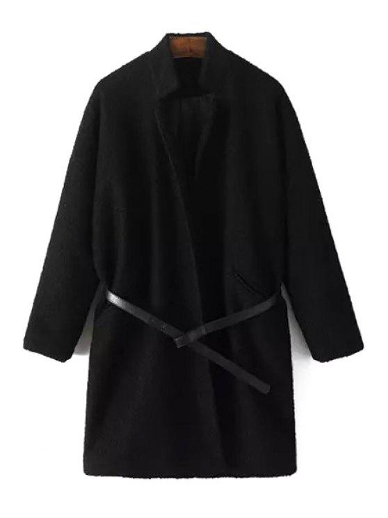 outfit Pure Color Wool Coat With Belt - BLACK S