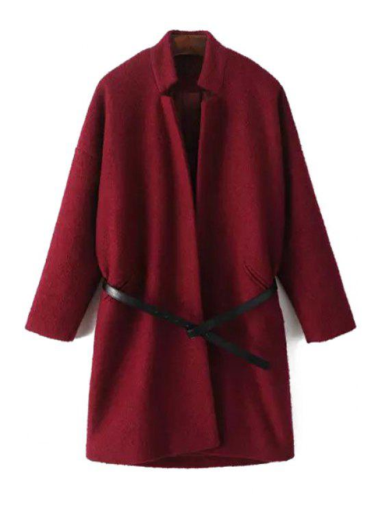 trendy Pure Color Wool Coat With Belt - RED L