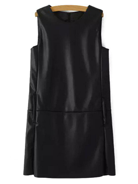 latest Sleeveless Black Faux Leather Dress - BLACK L