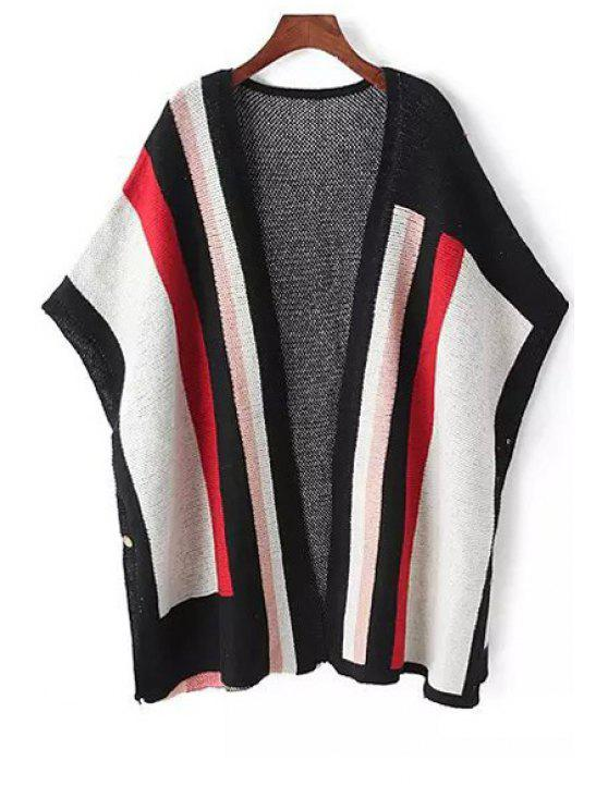 latest Color Block Bat-Wing Sleeve Cardigan - COLORMIX ONE SIZE(FIT SIZE XS TO M)