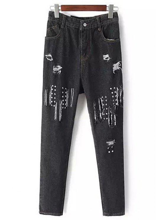 chic Rivet Frayed Narrow Feet Jeans - BLACK S