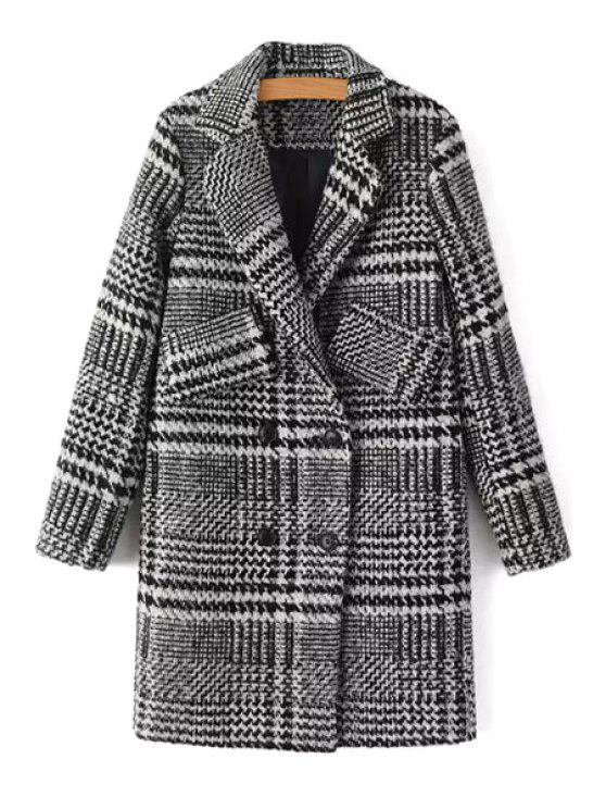 fashion Double-Breasted Houndstooth Coat - GRAY S