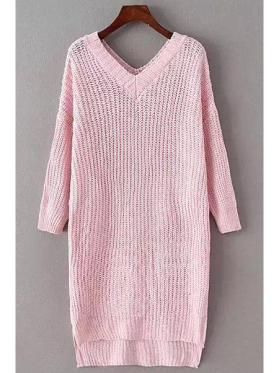 shop Solid Color V Neck Long Sleeve Long Jumper - PINK ONE SIZE(FIT SIZE XS TO M)