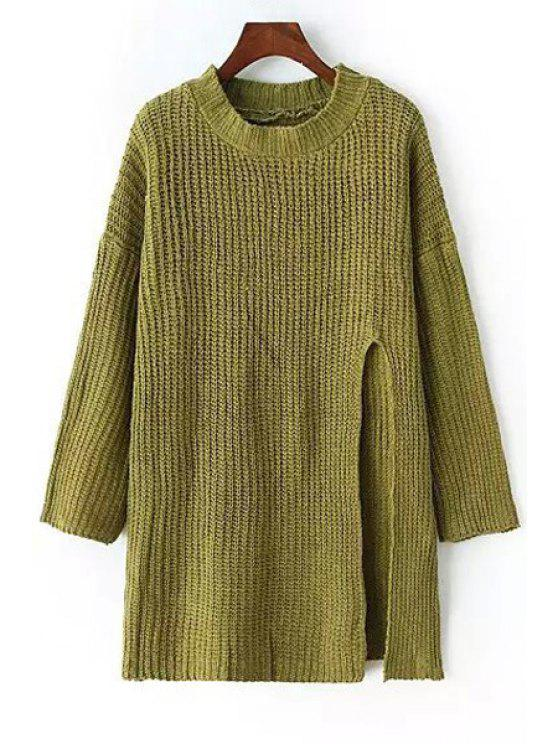 fancy Side Slit Round Neck Long Sleeve Jumper - GREEN ONE SIZE(FIT SIZE XS TO M)