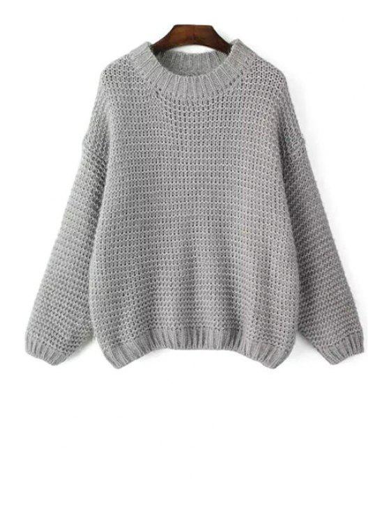 affordable Round Neck Long Sleeve Jumper - GRAY ONE SIZE(FIT SIZE XS TO M)