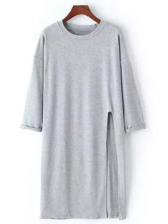 latest Side Slit Round Neck Long Sleeve T-Shirt - GRAY ONE SIZE(FIT SIZE XS TO M)