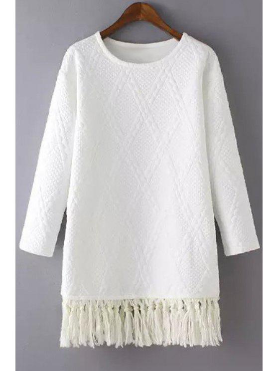 women's Tassels Spliced Long Sleeve Dress - WHITE S