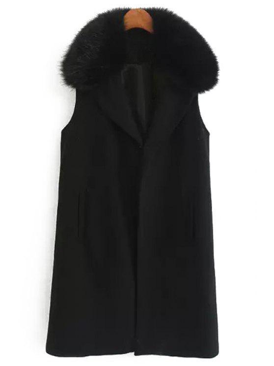 buy Faux Fur Collar Wool Waistcoat - BLACK S