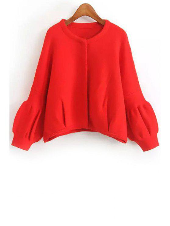 womens Red Jewel Neck Long Sleeve Cardigan - RED ONE SIZE(FIT SIZE XS TO M)