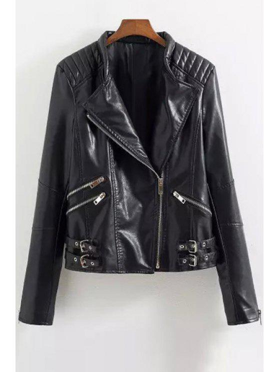 affordable PU Leather Zipper Turn Down Collar Jacket - BLACK S