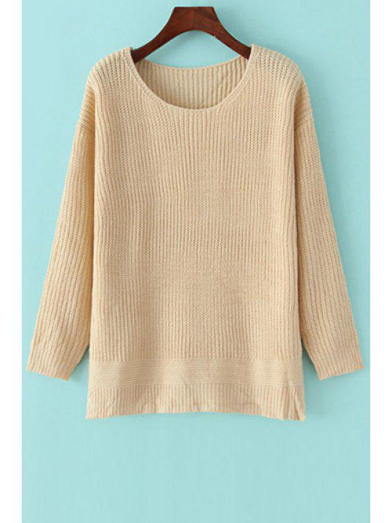 women's Apricot Scoop Neck Long Sleeve Jumper - APRICOT ONE SIZE(FIT SIZE XS TO M)