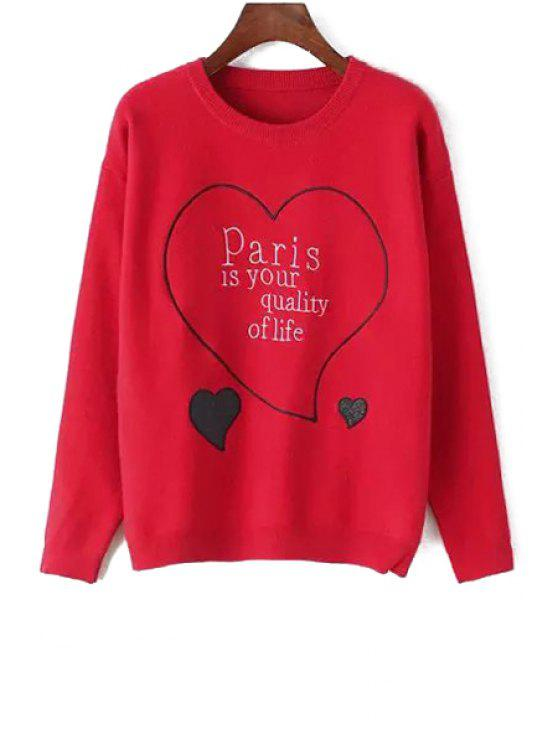 shop Heart and Letter Embroidered Sweater - RED ONE SIZE(FIT SIZE XS TO M)