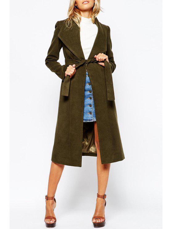 hot Boohoo Belted Shawl Collar Coat - ARMY GREEN S