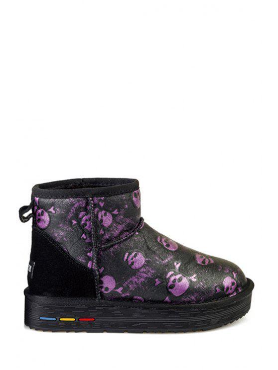 trendy Plush Color Block Crossbones Snow Boots - PURPLE 36