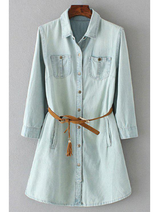 sale Waisted Pockets Denim Flat Collar Long Sleeves Dress - LIGHT BLUE S