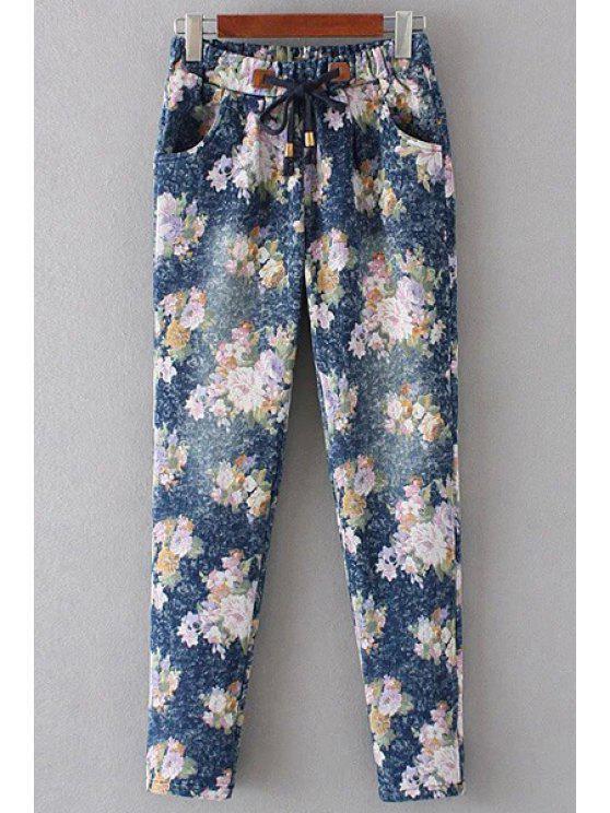 lady Floral Print Denim Women's Pockets Pants - PINK L