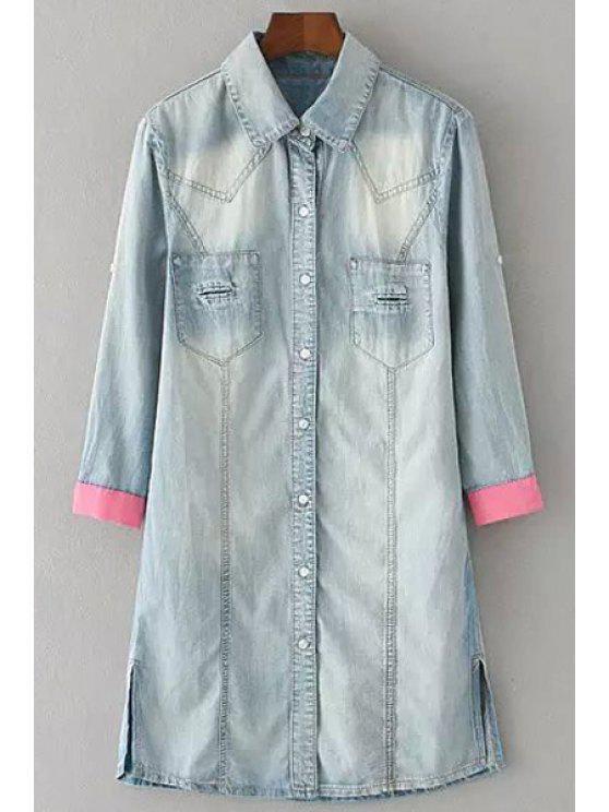 outfits Side Slit Flat Collar Spliced Denim Blouse - LIGHT BLUE M