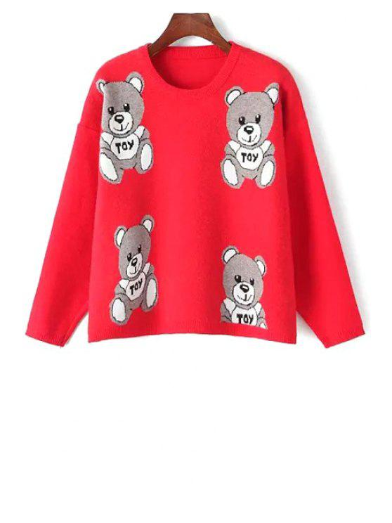 fancy Round Neck Bear Jacquard Sweater - RED ONE SIZE(FIT SIZE XS TO M)