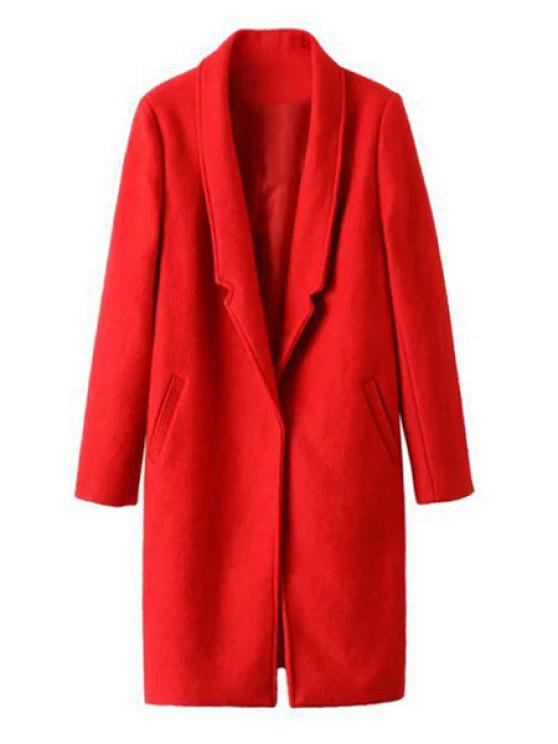 women's Pockets Solid Color Lapel Collar Long Sleeves Coat - RED L