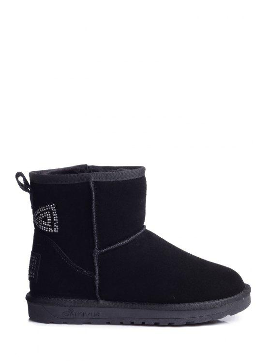 affordable Rhinestones Suede Bowknot Snow Boots - BLACK 35