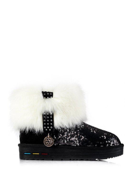 shops Sequined Metallic Pendant Faux Fur Snow Boots - BLACK 35