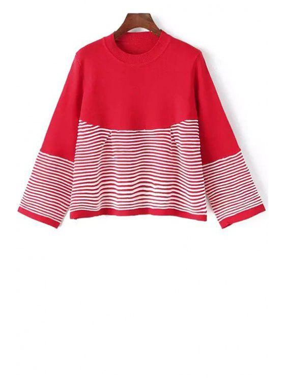 lady Loose-Fitting Striped Sweater - RED ONE SIZE(FIT SIZE XS TO M)