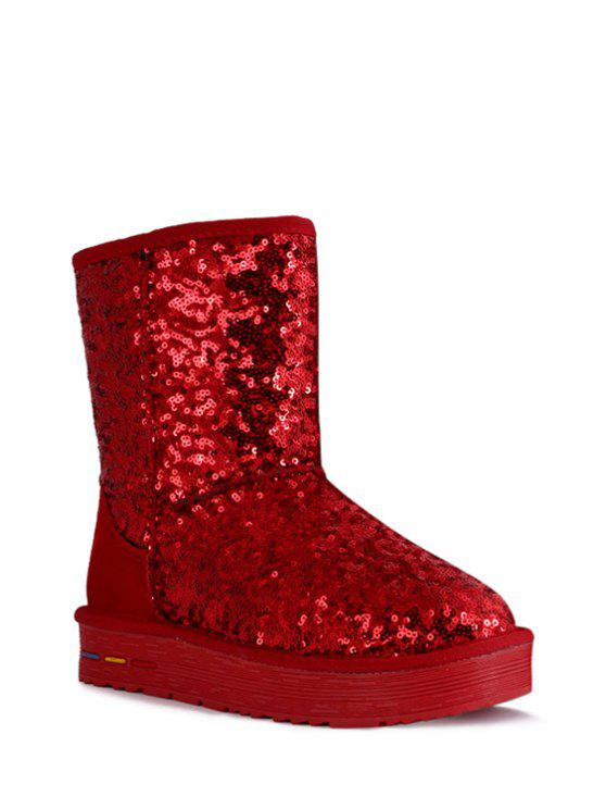 hot Sequined Splicing Bling Bling Snow Boots - RED 35