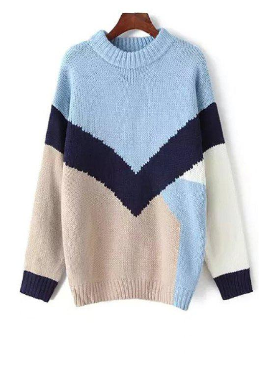 latest Round Neck Long Sleeve Hit Color Sweater - BLUE ONE SIZE(FIT SIZE XS TO M)