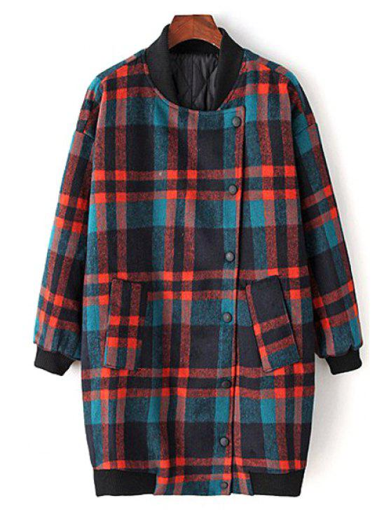 trendy Checked Color Block Stand Collar Long Sleeves Coat - COLORMIX S