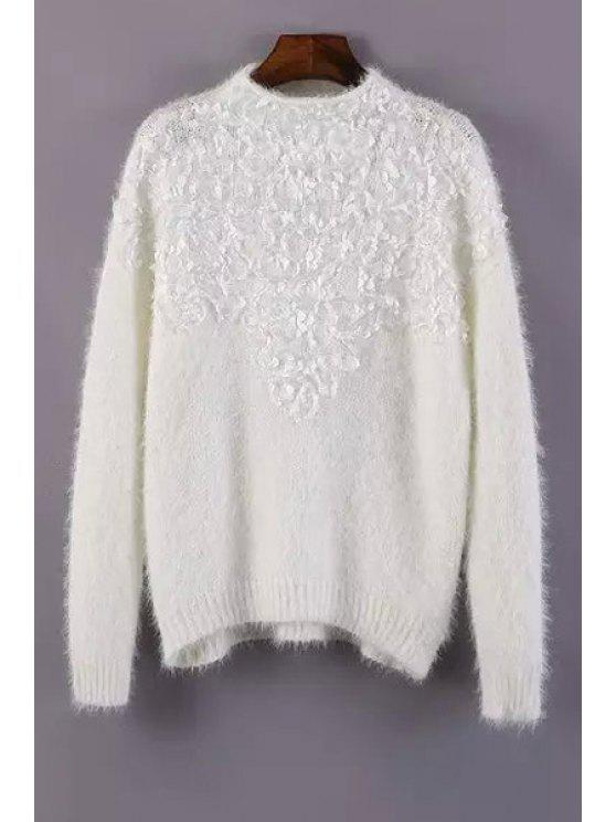 sale Long Sleeve Stereo Petal Jumper - WHITE ONE SIZE(FIT SIZE XS TO M)