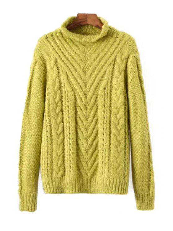 outfit Stand Neck Cable Knit Jumper - YELLOW ONE SIZE(FIT SIZE XS TO M)