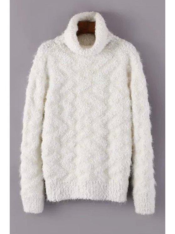lady Turtle Neck Long Sleeve Jumper - WHITE ONE SIZE(FIT SIZE XS TO M)