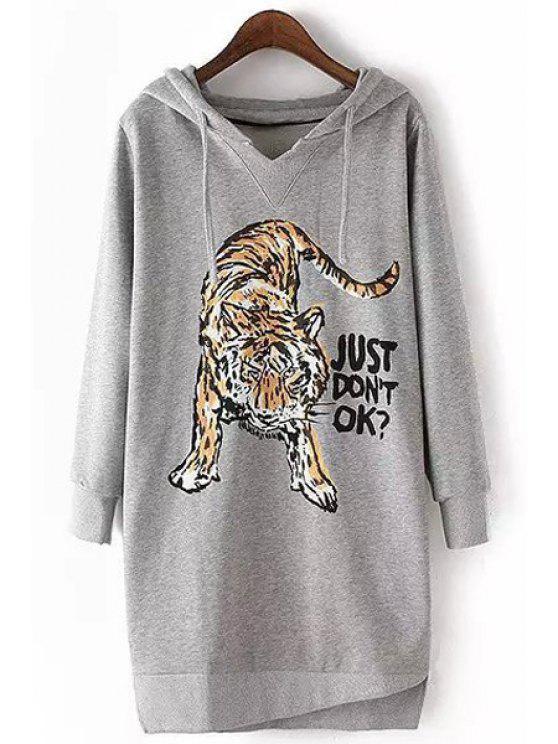 trendy Tiger Print Long Sleeve Pullover Hoodie - GRAY L