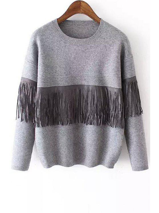 hot Tassels Jewel Neck Long Sleeve Jumper - LIGHT GRAY ONE SIZE(FIT SIZE XS TO M)