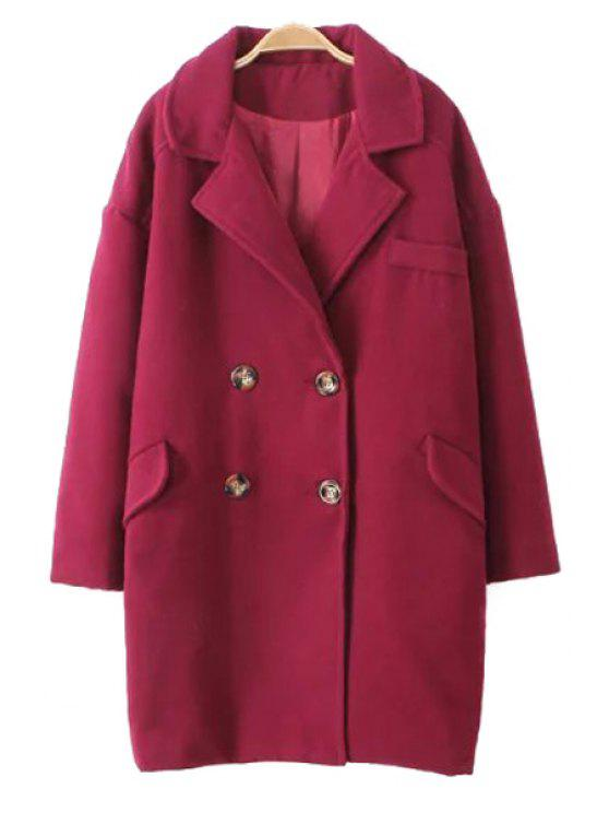 women's Double-Breasted Thick Wool Coat - WINE RED M
