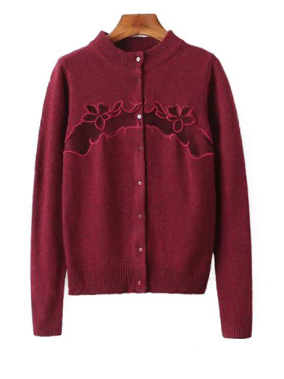 ladies Embroidered Single-Breasted Cardigan - DARK RED ONE SIZE(FIT SIZE XS TO M)
