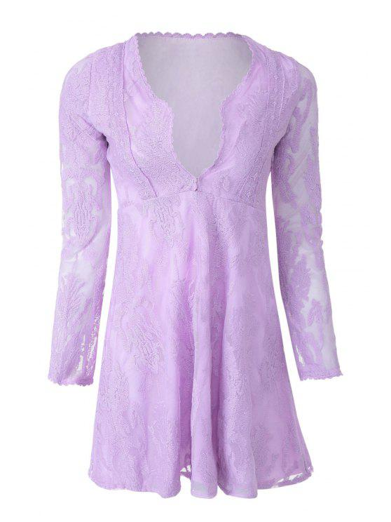 buy Deep V Neck Embroidered See-Through Dress - LIGHT PURPLE S