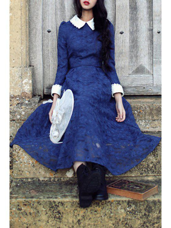 chic Color Block Turn Down Collar Long Sleeve Maxi Dress - BLUE S